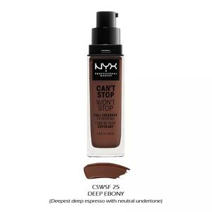 NYX Can't Stop Won't Stop Foundation Deep Ebony
